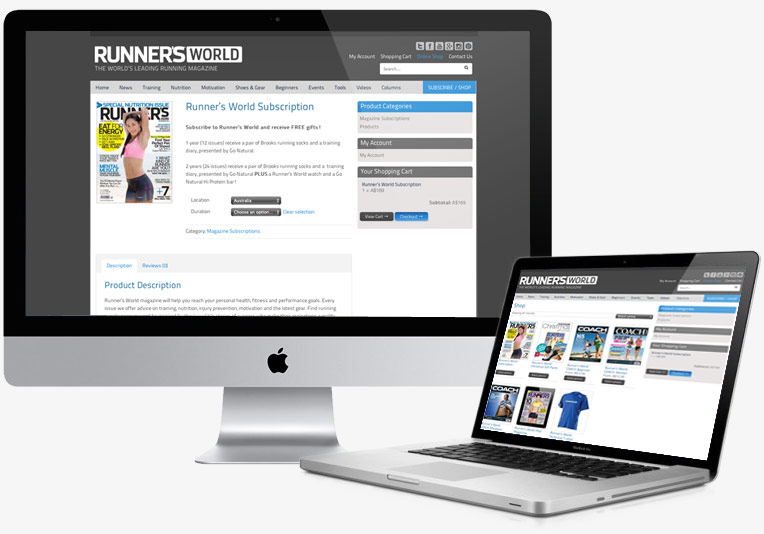 Runners World eCcommerce Website project image